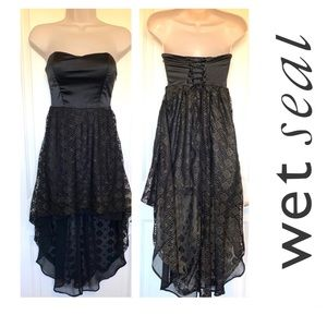 Padded Busty Corset High Low Asymmetrical Dress